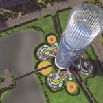 3D Skyscraper hotel concept view from above