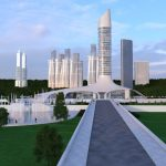 View on 3D building from distance