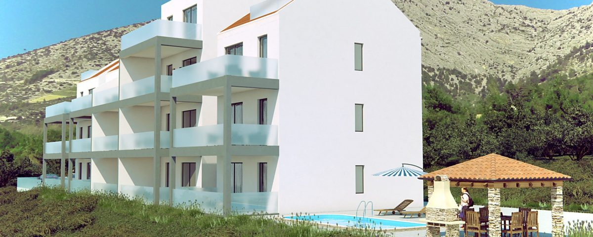 3D Apartment building view from the corner