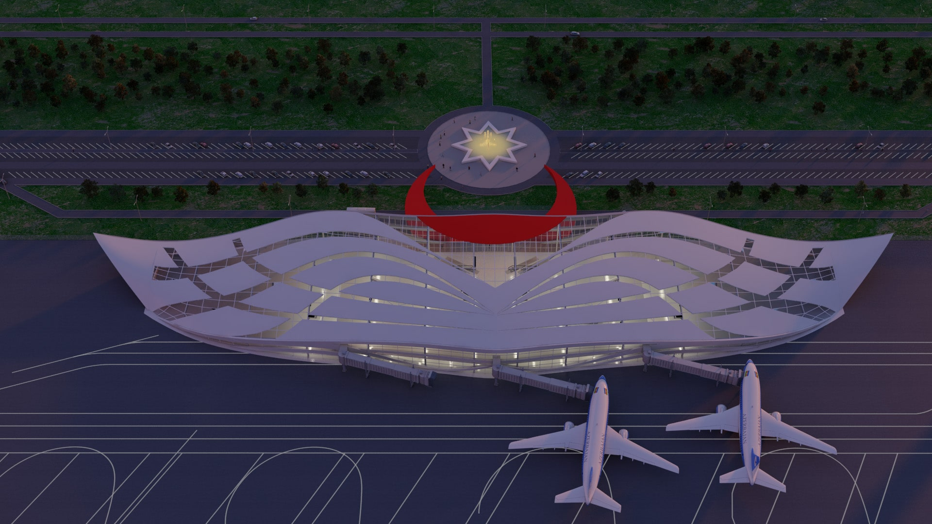 3D Airport Beylagan side view