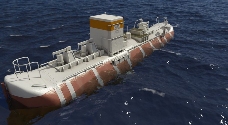 3D Bathyscaphe Trieste view from the corner