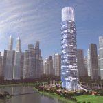 3D Skyscraper hotel concept long corner view