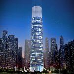 3D Skyscraper hotel concept night view