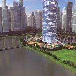 3D Skyscraper hotel concept view from the corner