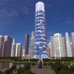 3D Skyscraper hotel concept front long distance view