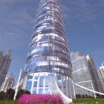3D Skyscraper hotel concept font view